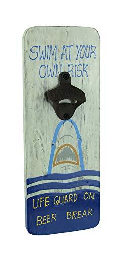 Wood Plaque Beer Break Shark Wall Mounted Bottle Opener