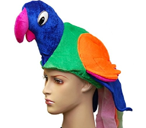 Parrot Tropical Paradise Colorful Macaw Bird Costume Hat -