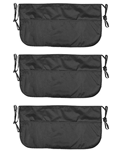 Double sided 3 Pocket Waist Apron with Pen Holder   Waterproof Apron for Severs, Bartenders, Cooking, Crafts - Mato & Hash - 3PK Black