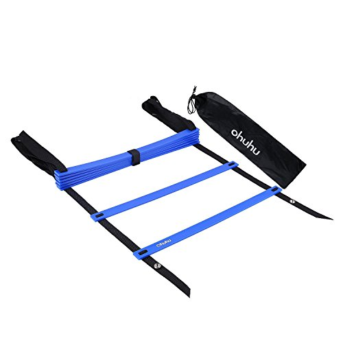 Ohuhu Agility Ladder with Black Carry Case, 8-Rung Blue