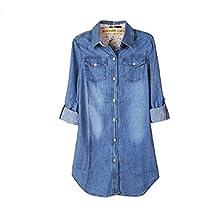 Billila Women's Casual Long Sleeve Vintage Blue Denim Shirt Tops Blouse