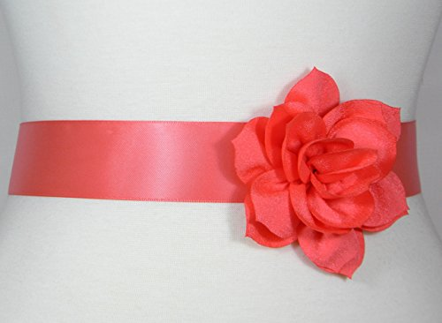 Coral Bridal Sash, Wedding Belt, Bridal Belt, Flower Girl Dress Sash, Bridesmaid Belt, Satin Sash, Wedding Dress Belt, Simple Sash POSY