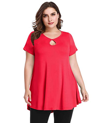 MONNURO Womens Short Sleeve Flare Swing Tunic Tops Plus Size Casual Loose Fit Shirts Blouses Red 3X