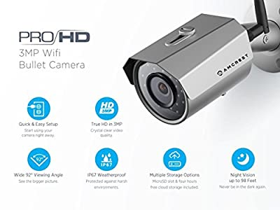 Amcrest 2K 3MP Wireless Outdoor Security Camera ProHD 1080P / 1296P - I am  happy  I can see my entire pool and it