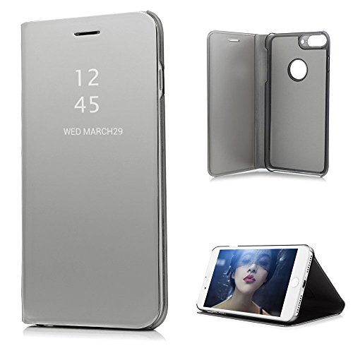 Badalink iPhone 8 Plus Case, iPhone 7 Plus Cover Luxury Electroplate Flip Translucent Front Protective Skin Bumper Kickstand PU Leather Back Shell Hard Inner Case for iPhone 7+ / 8+ - Silver