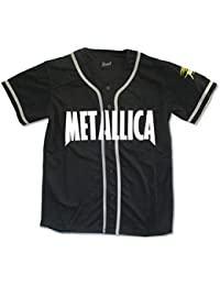 Metallica Pushead Skull Sleeve Mens Black Baseball Jersey