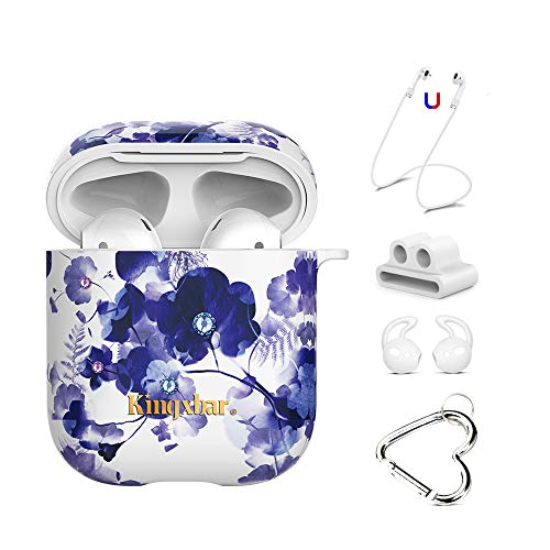 AirPods Case Sparkle Crystal from Swarovski 5 in 1 Covers for Apple AirPods 2 & 1,Hard PC Protective Orchid Floral Case for Girl and Women with Keychain/Strap/Earhooks/Watch Band Holder by ()