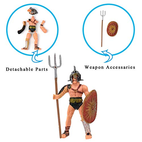 1ba8c6ce8a4a6 HAPTIME 6 Pcs Roman Gladiator Playsets Toy with Weapons and Shield ...