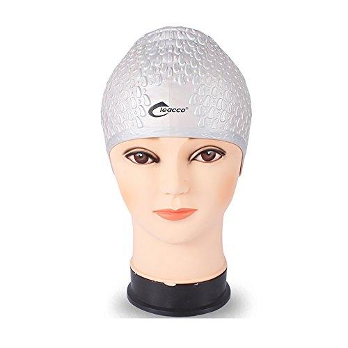 GTI Mens Silicone Swimming Cap Women Swim Hat for Adult Silver