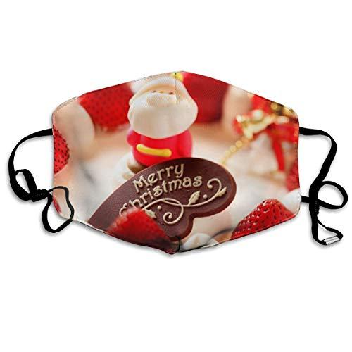 Unisex Strawberry Dessert Santa Claus Printed Cotton Mouth-Masks Face Mask Polyester Anti-dust Masks