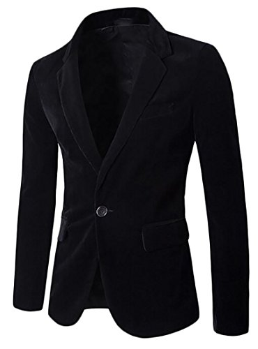 Corduroy Slim Mens UK Black Fit Blazer Long Sleeve Jacket today qB4YY