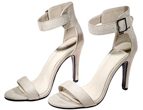 Vestir Tobillo Bigtree Peep Correa Stiletto Toe de Sandalias de Beige Mujer Handmade Sandalias w4aqw