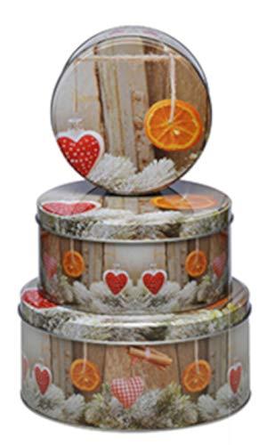 Haushalt International Weihnachtliche Keksdosen 3-er Set rund Motiv Orange