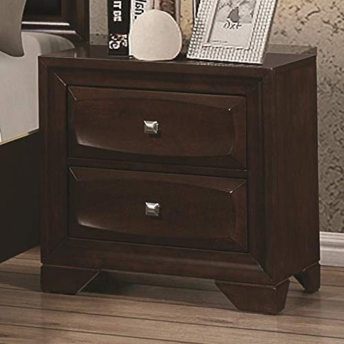 Benzara BM185306 Wooden Nightstand with Spacious Beveled Front Drawers, Brown