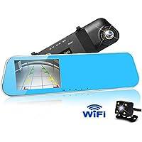 WIFI Dual Lens Car Camera,KuLio Waterproof Rear View Reverse Mirror Backup Camera,1080P Full HD Dash Cam Car Recorder DVR with 4.3 Inch Screen Night Vision with G-Senor