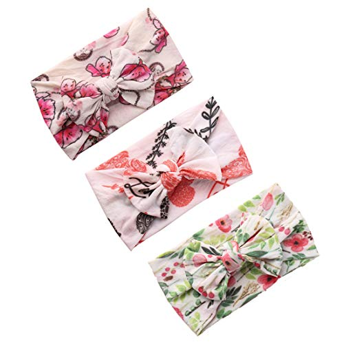 - Baby Bows 3 Pack,Floral and Classic Knot Baby Headbands,Elastic Nylon Headwraps Hair Accessories for Newborn Infant Toddler Girls