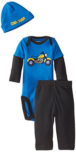 Gerber Baby-Boys Newborn 3 Piece Bodysuit Cap and Pant Set, Motorcycle, 24 Months
