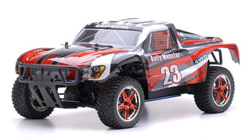 1/10 2.4Ghz Exceed RC Rally Monster Nitro Gas Powered RTR Off Road Rally Car 4WD Truck Stripe RedSTARTER KIT REQUIRED AND SOLD SEPARATELY by Exceed RC