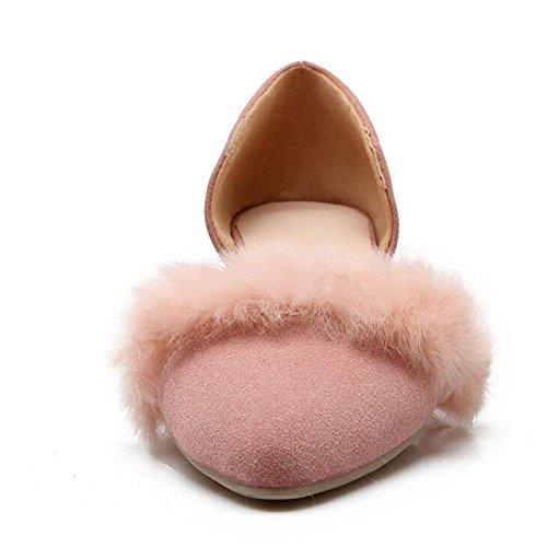 Matte européenne cuir Pointu faible talon sandales femme en peluche Décoration , pink , 43