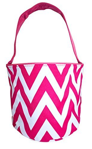 Childrens Fabric Bucket Tote Bag - Toys- Easter (Blank, Pink Chevron)