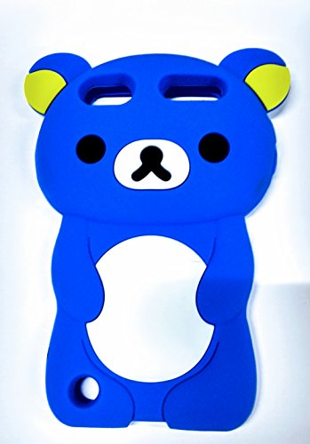 Bukit Cell Ipod Touch 6 / 5 BLUE Bear Silicon Case + Screen protector +BC metallic stylus pen, case for Girl gift