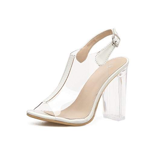 women's bold high summer mouth 37 white shoes heeled clear ZHZNVX shoes with crystal fish new sandals walk High heeled sandals awFq86F