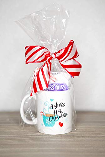 (Gift for Kids Hot Chocolate Mug Set with Candy Cane and Drink Mix, Cute Christmas or Winter Gift for Kids, Name Mug)