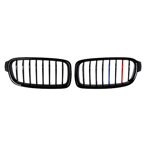 Glossy Black M-Color Single Line Front Kidney Grille Grill For 2012-2018 F30 320i 328i 335i 4-Door
