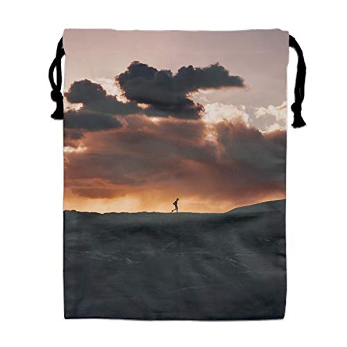 Silhouette Horizon Volcano Clouds Sunset Drawstring Pouches Candy Jewelry Party Wedding Favor Present Bags 15.75/11.8