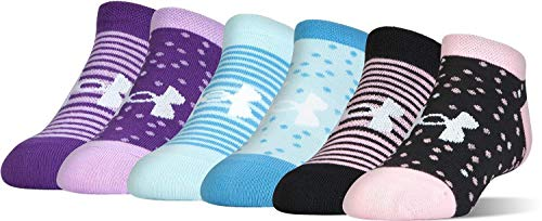 (Under Armour Girls Essential No Show Socks (6 Pack) (Youth Small (Youth Shoe Size 13.5K-4Y), Purple (1304353-501) / Stripes/Dots/Pink/Blue))