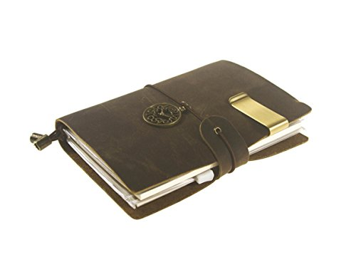 UNIQUE HM&LN Genuine Leather Planner Organizer - Academic Monthly & Daily - Refillable & Handmade - Gratitude Journal - Passion & Happiness 2017 (Dark brown)