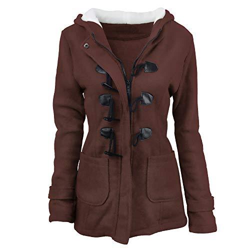 Juler Veste Moyen Manteau Femmes Corne 4xl Boucle Coton Hiver Capuche Et Longue Épaississement Laine Automne Café 1Sxr1Tnq
