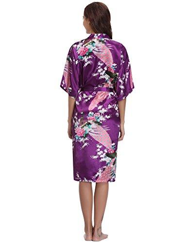 per De Accappatoio abbigliamento Aibrou Robe Donna Kimono pavone la di Fiori nuziale lunga viola Nuit regalo di scuro Camicia festa tCfqOXw