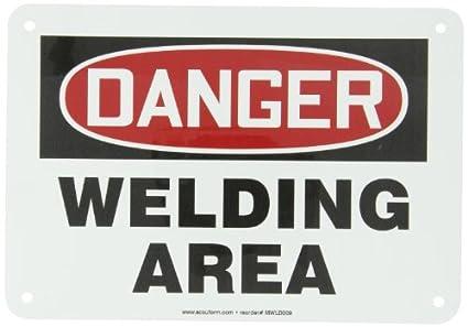 Accuform MWLD009VA aluminio señal de seguridad, leyenda peligro soldadura área, 7 cm de largo