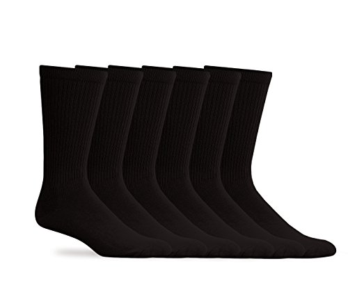Top Flite Mens Golf Classic Cotton Rib Casual Dress Socks 6 Pair Pack (Large - Shoe Size 9-13, Black) (Classic Rib Sock Dress)