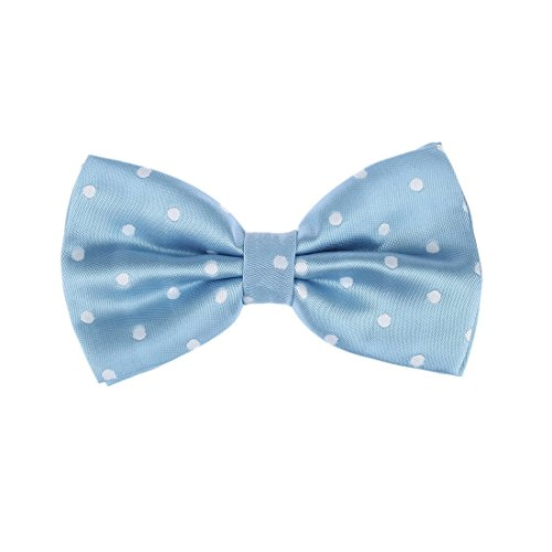 - Dan Smith DBD3D01O Light Sky Blue Polka Dots Microfiber Contemporary Presents Pre-tied Bow Tie