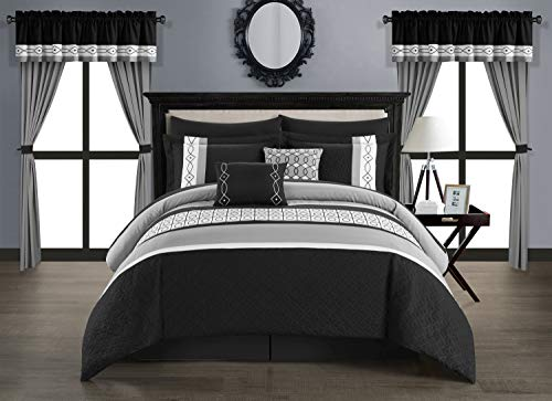 Chic Home Katrin 20 Piece Comforter Color Block Geometric Embroidered Bag Bedding-Sheet Set Pillowcases Window… 1
