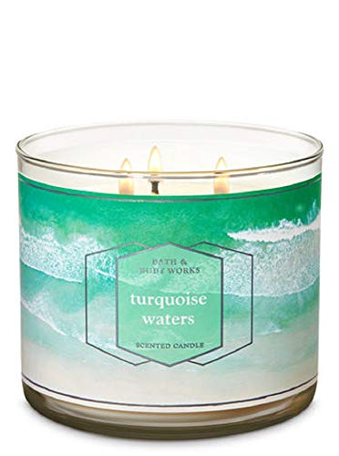 Bath and Body Works Turquoise Waters Scented 3 Wick Candle 14.5 oz (Coastal waves, bergamot, soft musk)