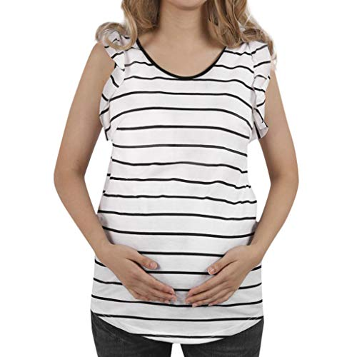 (Maternity Stripe Print Ruffle Top Womens Casual Sleeveless Tank Tops Pleated Tunic Shirt for Pregnant White)