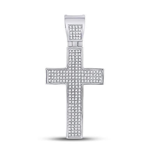 Dazzlingrock Collection Sterling Silver Mens Round Diamond Roman Cross Charm Pendant 1/2 Cttw