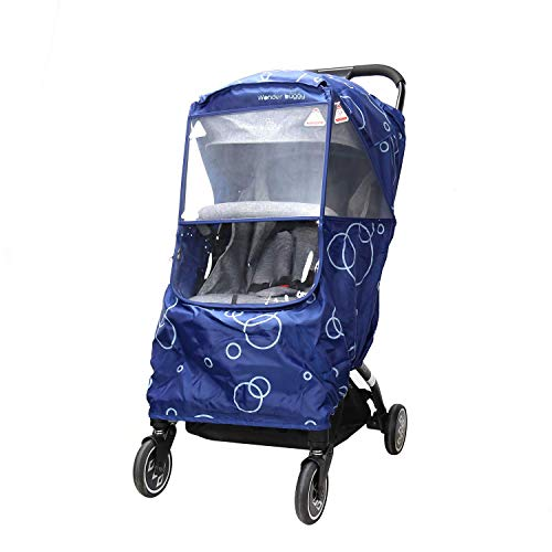 (Wonder buggy Universal Stroller Weather Shield Rain Cover with Bubble,Waterproof, Windproof Protection, Travel-Friendly, Outdoor Use, Easy to Install and Remove (Blue))