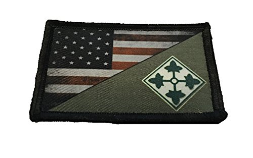 Full Color 4th Infantry Division USA Flag Morale Patch Tactical Military. 2x3