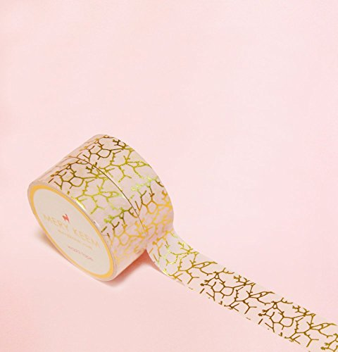 Peach Marble in Gold Foil Washi Tape for Planning • Scrapbooking • Arts Crafts • Office • Party Supplies • Gift Wrapping • Colorful Decorative • Maski…