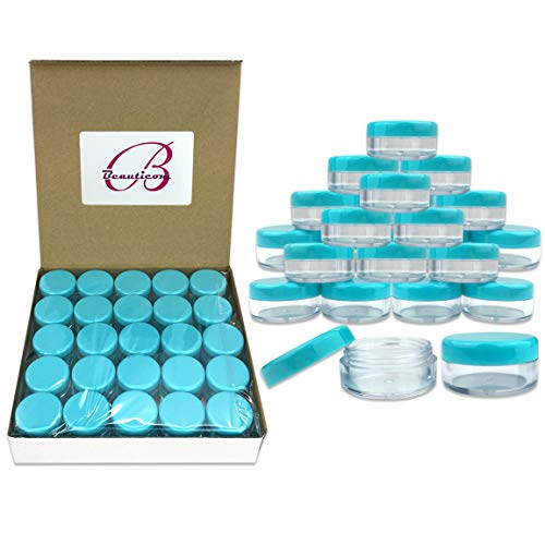 Quantity 100 Pieces Beauticom 5G 5ML Round Clear Jars with TEAL Sky Blue Lids for Scrubs, Oils, Toner, Salves, Creams, Lotions, Makeup Samples, Lip Balms – BPA Free