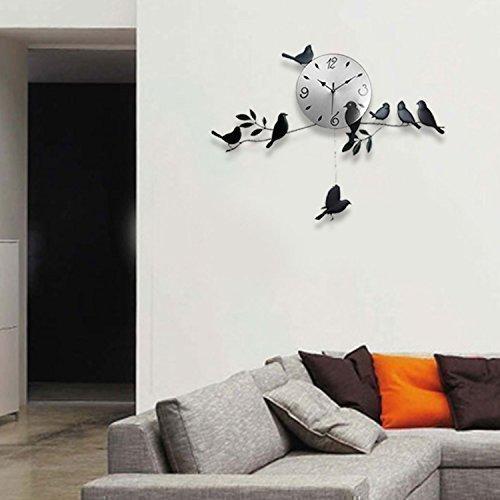 31 opinioni per WALPLUS- Orologio a parete per soggiorno in stile moderno, soggetto: uccelli,