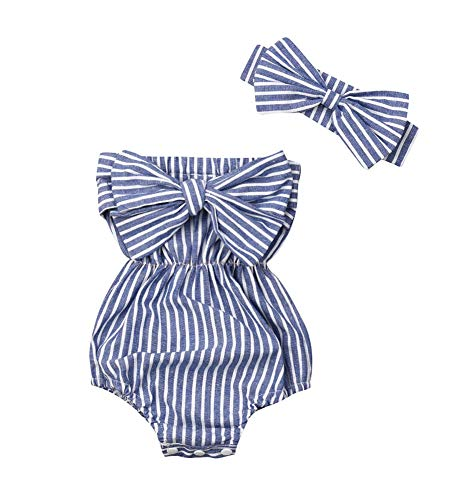 2PC Newborn Baby Girls Clothes Striped Jumpsuit Romper Playsuit Headband Outfits 0-24 Months