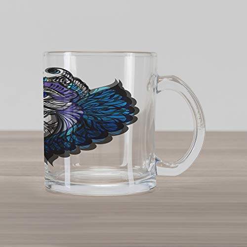 New School Owl Tattoo - Ambesonne Tribal Glass Mug, Owl Bird