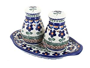 Polish Pottery Aztec Flower Salt & Pepper Shakers