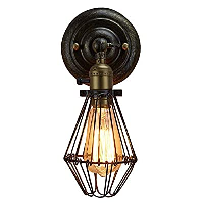 "Retro Industrial Vintage Opening & Closing Wall Light Sconce - YIKEGE Antique Fixture 12.2"" Height Simplicity Bedside Lighting for Headboard Bedroom Garage Porch Mirror - Black Socket & Black Shade"