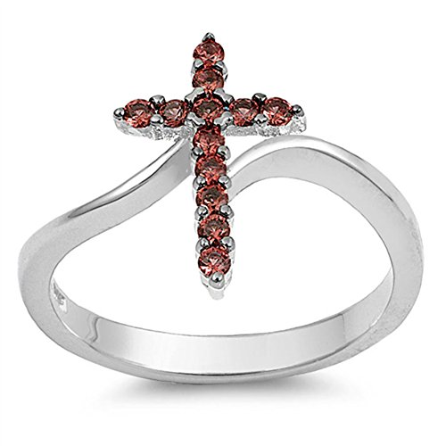 Cross Simulated Garnet Unique Christian Ring New .925 Sterling Silver Band Size 7 ()